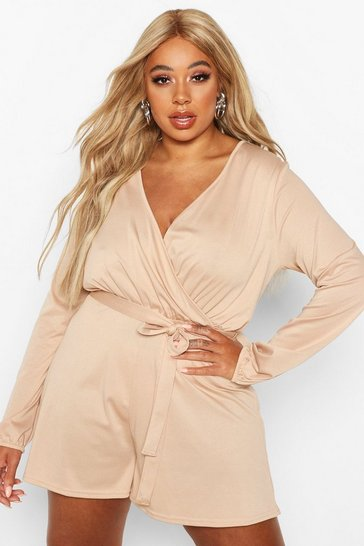 Stone Plus Wrap Self Belt Floaty Playsuit