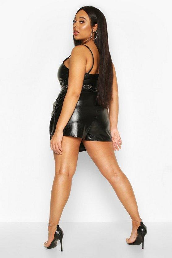 Plus Leather Look Snakeskin Skort