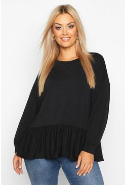 Dam Black Plus Drop Ruffle Peplum Hem Sweatshirt