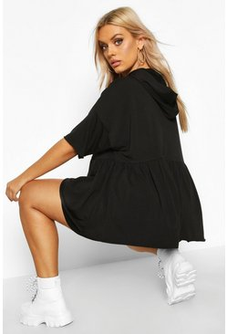 Black Plus Hooded Peplum Sweatshirt
