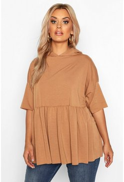 Womens Camel Plus Hooded Peplum Sweatshirt