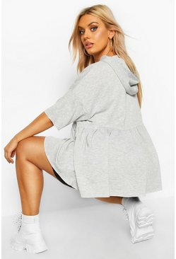 Grey Plus Hooded Peplum Sweatshirt