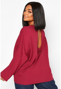 Berry Plus Rib Knotted Long Sleeve T-Shirt