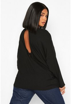 Black Plus Rib Knotted Long Sleeve T-Shirt