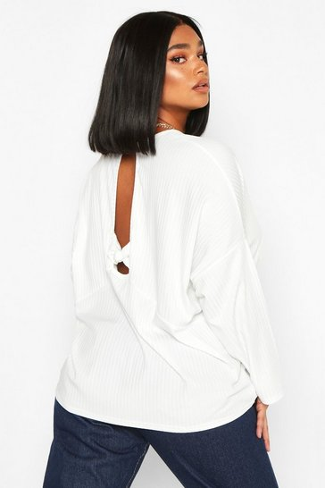 Womens White Plus Rib Knotted Long Sleeve T-Shirt