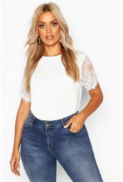 Womens White Plus Eyelash Lace Sleeve T-Shirt