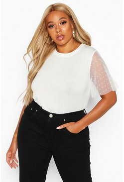 White Plus Polka Dot Mesh Sleeve T-Shirt