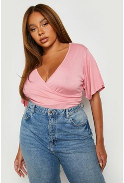 Hot pink Plus Wrap Short Sleeve Bodysuit
