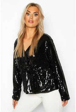 Womens Black Plus Sequin Wrap Peplum Top