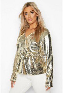 Womens Gold Plus Sequin Wrap Peplum Top