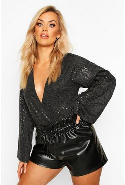 Womens Black Plus Sequin Plunge Bodysuit