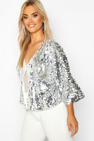 Womens Silver Plus Sequin Crop Jacket