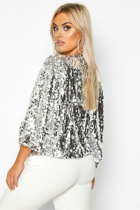 Plus Sequin Crop Jacket