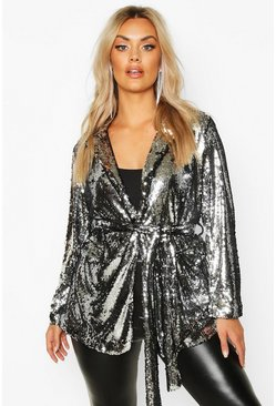 Womens Silver Plus Belted Wrap Sequin Jacket