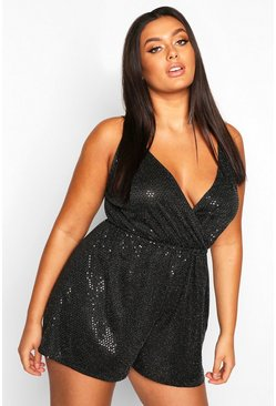 Womens Black Plus Wrap Front Sequin Strappy Playsuit