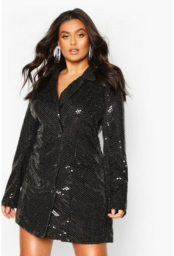 Black Plus Metallic Blazer Playsuit