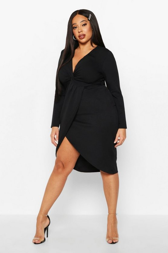 Womens Black Plus Twist Front Long Sleeve Wrap Dress