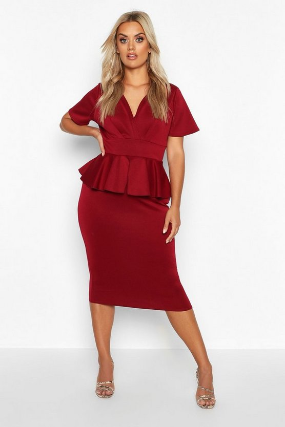 Womens Berry Plus Wrap Front Peplum Midi Dress