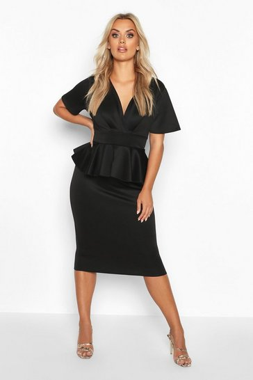 Womens Black Plus Wrap Front Peplum Midi Dress