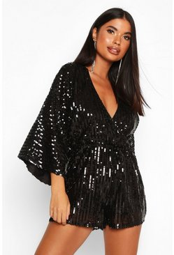 Womens Black Petite Sequin Wrap Flippy Playsuit