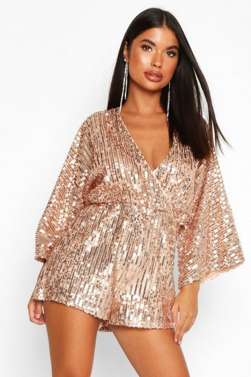 Womens Rose Petite Sequin Wrap Flippy Playsuit
