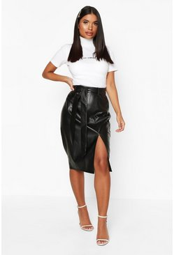 Womens Black Petite Split Tie PU Midi Skirt