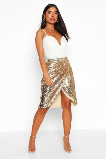 Womens Gold Petite Sequin Wrap Midi Skirt