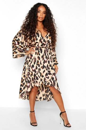 Womens Tan Petite Leopard Print Kimono Sleeve Wrap Dress