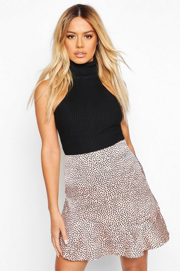 Womens Stone Petite Ruffle Hem Satin Spot Mini Skirt