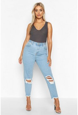 Mid wash Plus Ripped High Rise Boyfriend Jean