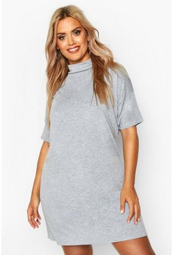 92cc7478f1a7c Plus High Neck Oversized T-Shirt Dress