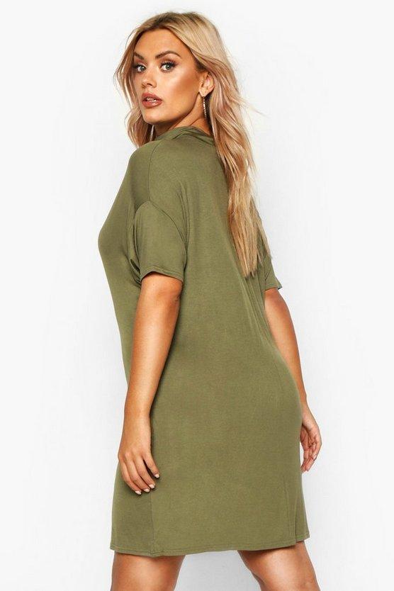 Plus High Neck Oversized T-Shirt Dress