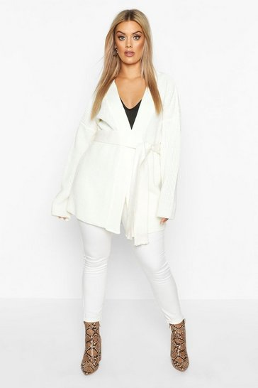Womens Cream Plus Chunky Knitted Belted Boyfriend Cardigan