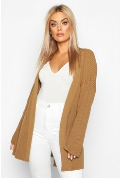 Womens Toffee Plus Chunky Knitted Belted Boyfriend Cardigan