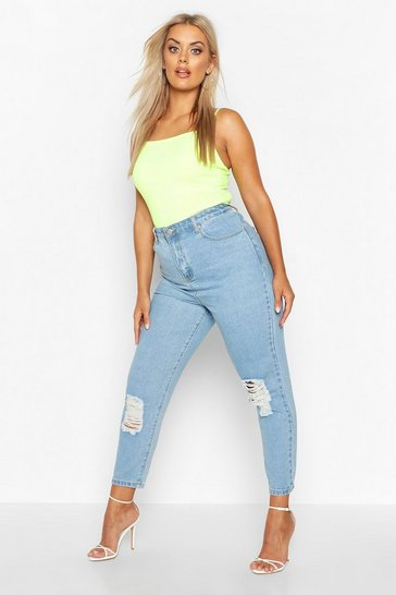 Mid wash Plus Ripped Tapered High Waist Boyfriend Jean