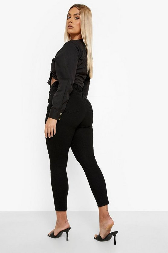 Plus Button Front High Waist Skinny Jeans