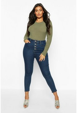 Mid wash Plus Button Front High Waisted Jean