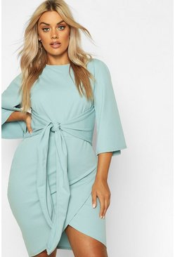 Womens Duck egg Plus Kimono Sleeve Tie Waist Wrap Dress