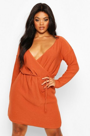 Terracotta Plus Wrap Belted Knitted Dress