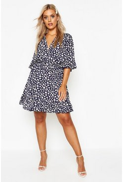 Womens Navy Plus Floral Polka Dot Ruffle Wrap Dress