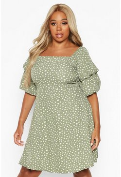 Womens Sage Plus Spotty Ruched Puff Sleeve Skater Dress