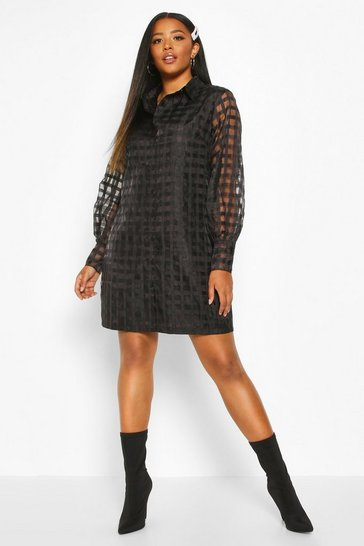 Womens Black Plus Organza Check Shirt Dress