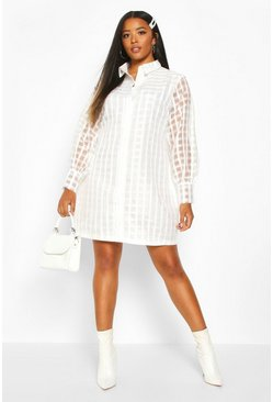 Womens Ivory Plus Organza Check Shirt Dress