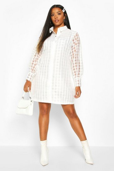 Ivory Plus Organza Check Shirt Dress