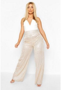 Champagne Plus Metallic Wide Leg Trousers