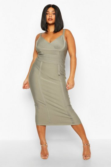 Womens Taupe Plus Sculpting Bandage Midi Dress