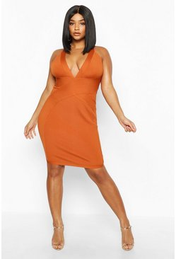 Womens Rust Plus Plunge Sculpting Bandage Mini Dress