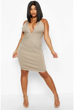 Womens Stone Plus Plunge Sculpting Bandage Mini Dress