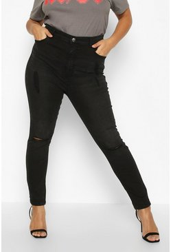 Womens Black Plus Ripped Knee High Waisted Skinny Jean