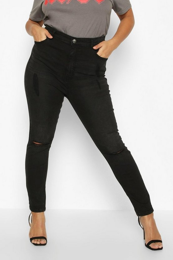 Plus Ripped Knee High Waisted Skinny Jean